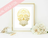 Gold Foil Sugar Skull Print