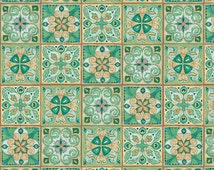 Floral Tiles Fabric -  Majestic Beauties by Daphne B Collection for Wilmington Prints 44052-279 - Priced by the Half Yard