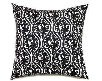 Black Pillow Covers, 20x20 Pillow Cover, Decorative Pillows, Designer Pillow Covers, Modern Cushion Cover, Kimono Black