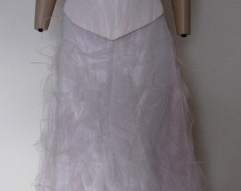 Vintage 1970 pale pink satin corset feather tulle skirt ball bridal gown party outfit. - Measurements in description.  REDUCED