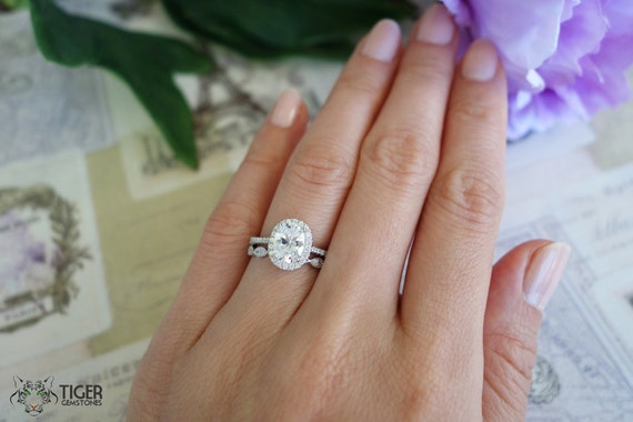 1.5 Carat, Oval Halo Engagement Ring, Vintage, D Color Man Made Diamond Simulants, Art Deco, Wedding, Bridal, Promise Ring, Sterling Silver