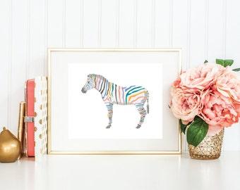 Multicolor Zebra | 8x10 | Quote Print