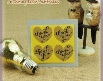40 x Thank you Heart Stickers (3.8 x 3.5cm) : Wedding Favours Shower Gift Craft Australia