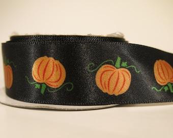 5 yards of 7/8 inch Halloween pumpkin satin ribbon