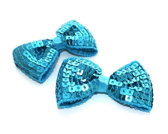 2 Small Sequin Bow Ties--Turquoise