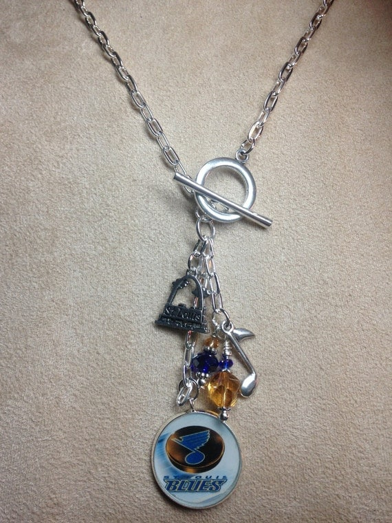items similar to st louis blues hockey pendant front