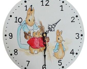 Beatrix Potter Clock - Wooden Peter Rabbit Nursery Clock