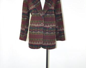 80s wool blanket blazer / southwestern striped blazer / burgundy tribal blazer