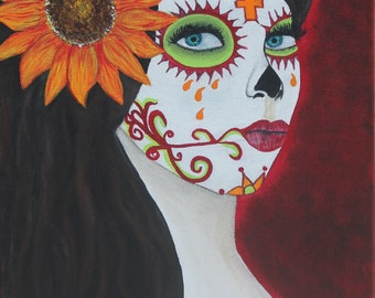 Giclee PRINT 5x7 Day of the Dead Esperanza Hope Lady Fall Flowers Sugar Skull Acrylic Painting Dia de los Muertos Autumn Fall Signed