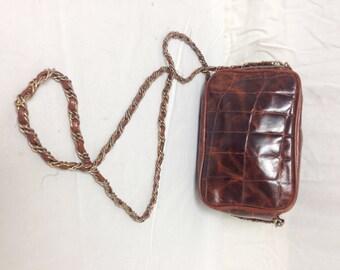 Brown leather purse,bag,Shoulder Bag , croc embossed
