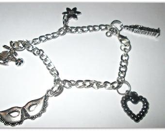 Bracelet 50 shades of Grey: Charlie Tango + flower + heart + mask + Big Ben