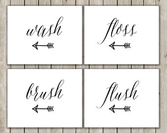 5x7 Bathroom Printable, Wash, Brush, Floss, Flush Printable Art, Bathroom Poster, Typography Prints, Set of Four, Instant Digital Download