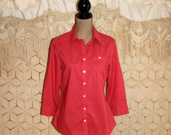 Red Cotton Blouse Womens Shirts Casual Tops Button Up Preppy Dot Mini Print 3/4 Sleeve Banana Republic Small Medium Womens Clothing