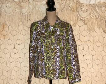 Bohemian Jacket Hippie Jacket Linen Jacket Spring Jacket Women Jacket Block Print Green Purple Print Jacket Size 16 XL 1X Plus Size Clothing