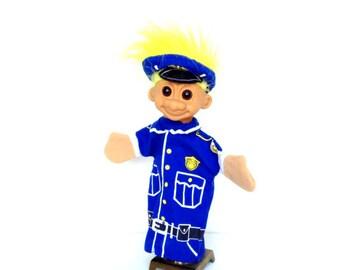 Vintage Russ Troll Doll Cop Hand Puppet