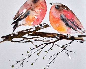 ORIGINAL Watercolor Bird Painting, Colorful Robins 6x8 Inch