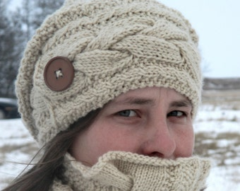 KNITTING PATTERN PDF Hat - Knit pattern slouch hat - Knit pattern cable hat - Knit pattern adult hat