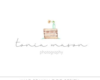 Watercolor Logo - Photography Watermark Business Logo - Watercolor, Mason Jar, Drawn, Artistic, Nature, Simple Design, Flowers, Crate