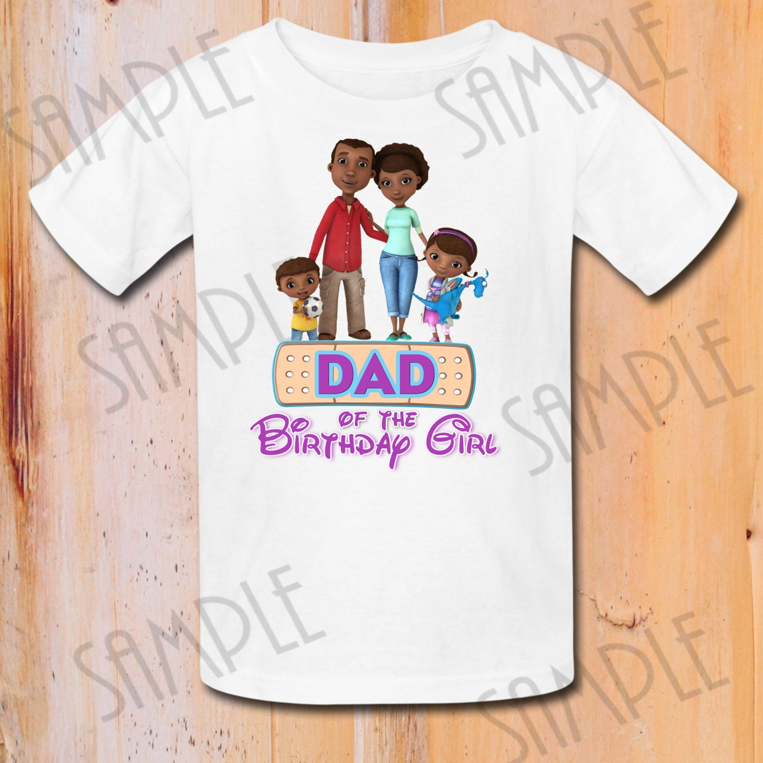 T shirt disney doc mcstuffins iron on transfer printable dad for Doc mcstuffins birthday girl shirt