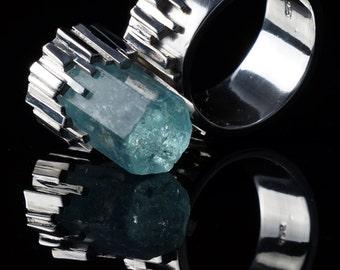 Aquamarine crystal in silver