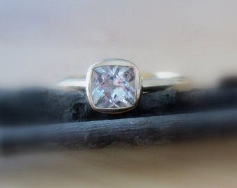 "25% OFF Moissanite ""Forever Brilliant""  8mm Gemstone 14K Gold, Conflict Free, Made to Order"