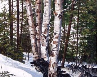 ORIGINAL ACRYLIC PAINTING: wolf pack ,Free Shipping, art, wilderness, nature, wildlife, winter, wall art, running, Canadian art