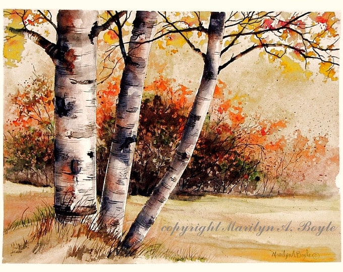 ORIGINAL WATERCOLOR PAINTING; autumn, birches, trees, fall colors, wall art, Canadian art, scene,  orange color, 11 x 14.75 inches