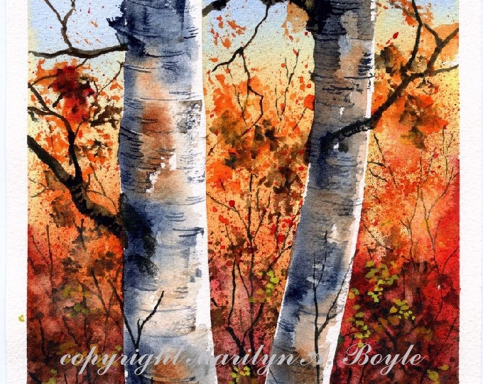 ORIGINAL WATERCOLOR PAINTING; autumn, birches, scene, trees, nature, hand made, wall art, Canadian art,