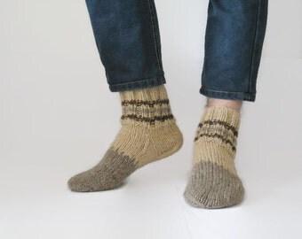 100% Wool Socks, brown man socks, hand knitted socks, traditional knitted socks, unisex wool socks, womens socks
