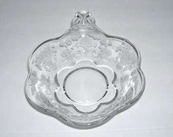 Duncan Miller First Love Etched Glass Nappy Bowl