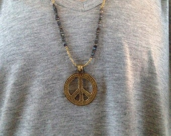 Labradorite and Gold Beaded Necklace with Peace Sign Pendant