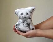fennec fox plush animal soft toy baby fennec cushion fox doll handpainted mini pillow decorative black and white cotton