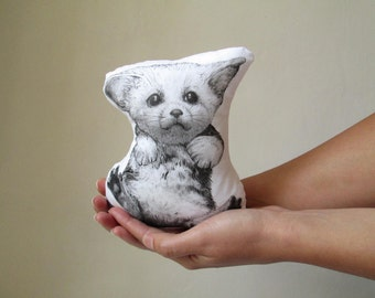 fennec fox plush animal soft toy baby fennec cushion fox doll handpainted mini pillow decorative black and white cotton