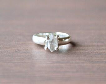 Pronged Herkimer Diamond Ring