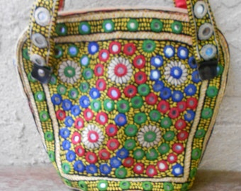 Vintage 70s Banjara India  Embroidered Mirrored Purse Ethnic