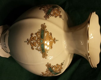 Vintage Lenox China Catalan vase10 in turquoise and gold