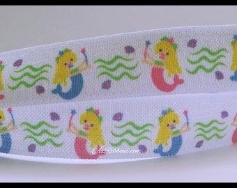 "Princess Mermaids Fold Over Elastic FOE Ribbon 5/8"" wide AZ391"