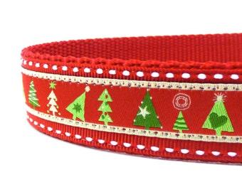 Modern Christmas Trees Dog Collar/ Christmas Dog Collar/ ribbon dog collar/ adjustable dog collar