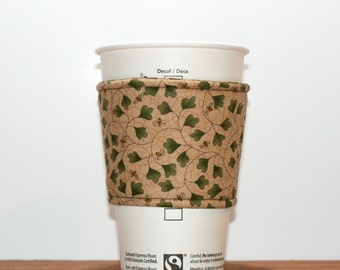 Fabric Coffee Cozy - Tea Cup Cozy - Eco friendly cozy - Coffee Sleeve - Bumblebee - Premium