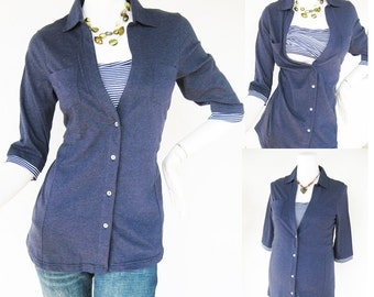 ANNA Shirt /  Maternity Clothes / Nursing Top / Breastfeeding Top / NEW Original Design NAVY / Nursing Tops for Breastfeeding