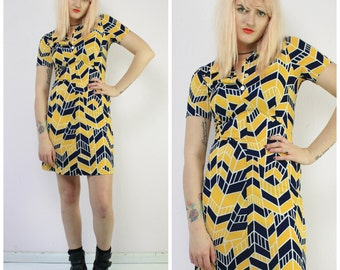 Yellow & Navy Deco Print 70s Dress