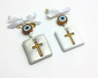 Eye Favors, Evil Eye Cross Charm, Evil Eye Favor, Baptism Ceremony Gift, Cross Guest Gift, Orthodox Baptism, Greek Martyrika, Pcs 20, 40, 60