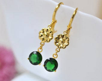 Emerald green drop earrings, Green Dangle Earrings, Green teardrop Earrings, Christmas green crystal, gold green earrings, sale gift for her
