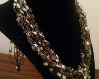 Brown Trellis Necklace / Crochet Necklace Item No. 2