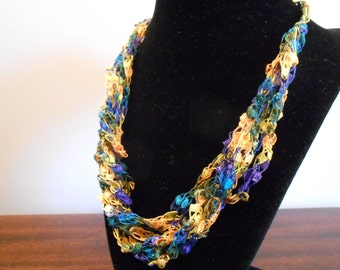 Yellow, Blue, and Green Trellis Necklace / Crochet Necklace Item No. 117
