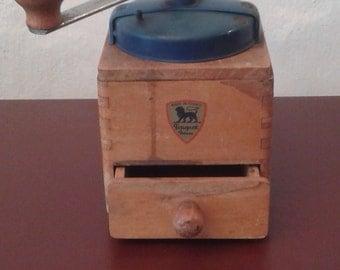 Vintage dark blue French Peugeot coffee grinder.
