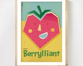 Scandinavian Fruit Art, 'Berrylliant' Strawberry A3 print, Retro inspired fruit poster, Kitchen Art, Nursery Art in summer colours