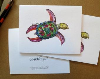 Turtle Watercolor Card Handmade