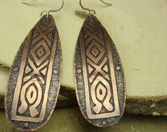 Etched copper earrings,handmade earrings,handmade copper earrings,unique handmade jewelry