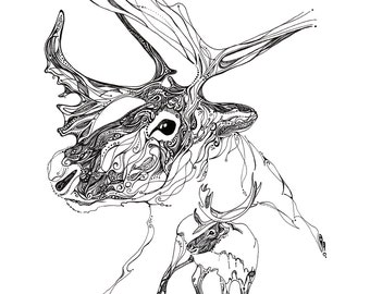 caribou spirit drawing caribou illustration line drawing reproduction of original drawing animal